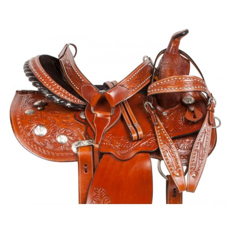 Tooled Barrel Western Pleasure Trail Horse Saddle 14 15