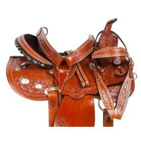 Gaited Tooled Barrel Race Western Trail Horse Saddle 14