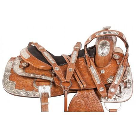 Chestnut Silver Western Pleasure Show Horse Saddle 16