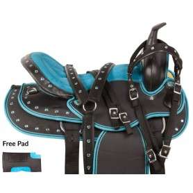 Turquoise Synthetic Western Trail Horse Saddle Tack 15 16