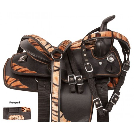 Tiger Print Western Synthetic Youth Pony Saddle Tack 12