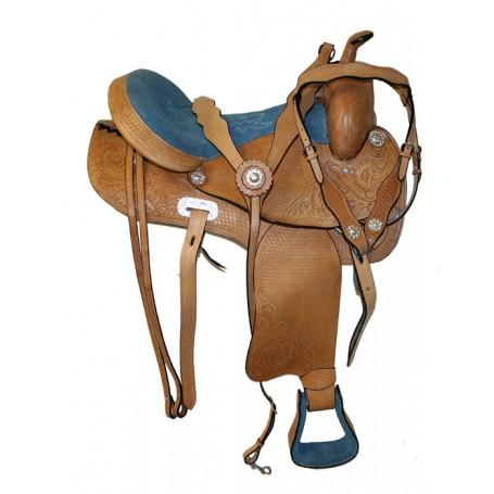 Amazing Blue Seat Barrel Racing Western Saddle W Tack