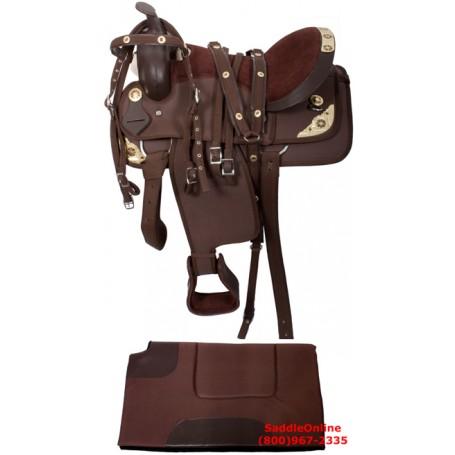16 17 Brown W Gold Show Cordura Saddle Tack