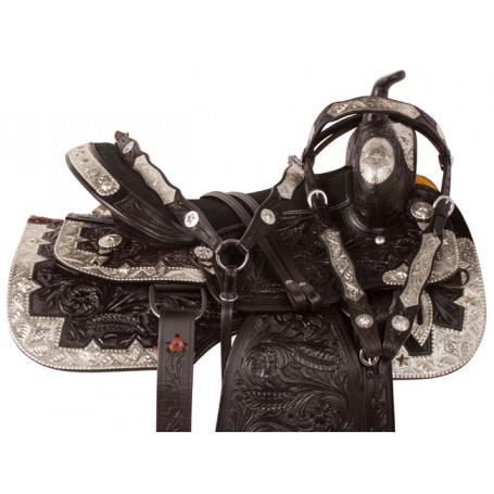 Flashy Black Western Pleasure Show Saddle Tack 17