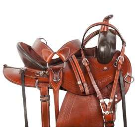 Round Skirt Western Pleasure Trail Horse Saddle Tack 16 18