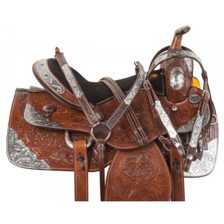 Brown Silver Western Pleasure Show Horse Saddle Tack 17