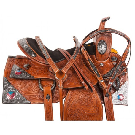 Patriotic Western Show Silver Bling Horse Saddle Tack 16