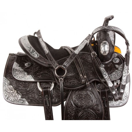Black Silver Western Parade Show Horse Saddle Tack 18