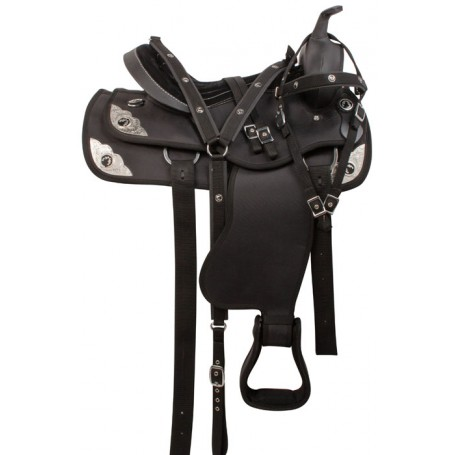 Pistol Black Synthetic Western Trail Horse Saddle 16 18