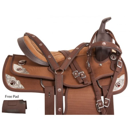 Pistol Silver Brown Western Trail Horse Saddle Tack 16