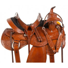Chestnut Comfy Pleasure Trail Western Horse Saddle 16 18