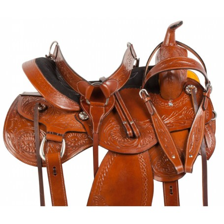 Chestnut Comfy Pleasure Trail Western Horse Saddle 15 16
