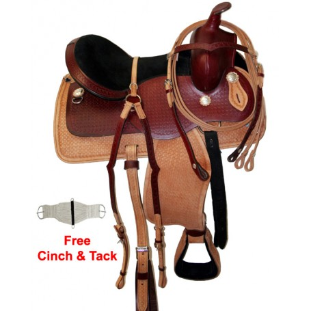 Deep Padded Seat Two Tone Pleasure Ridding Saddle 15-17