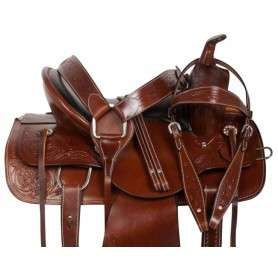 Brown Western Pleasure Trail Ranch Horse Saddle Tack 15