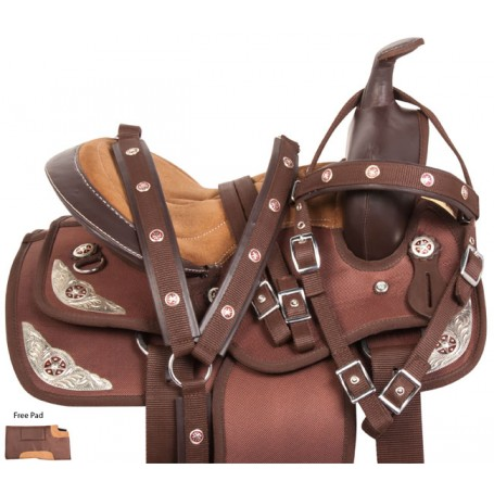 Brown Silver Western Pony Kids Youth Saddle Tack 10 13