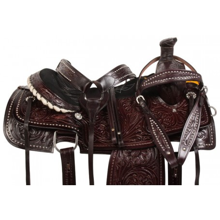Dark Brown Studded Roper Ranch Western Horse Saddle 18