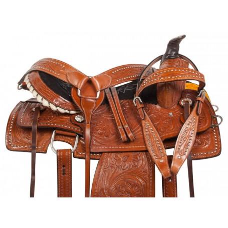 Chestnut Studded Roper Ranch Western Horse Saddle 15 18