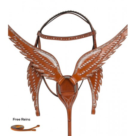Angel Wing Breast Collar Headstall Western Horse Tack Set