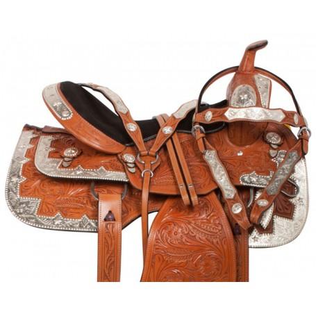 Chestnut Leather Western Pleasure Show Horse Saddle 16 17