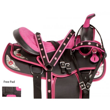 Pink Silver Western Synthetic Trail Horse Saddle Tack 16