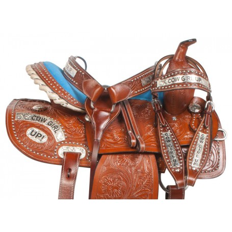 Blue Cowgirl Up Barrel Western Horse Saddle Tack 14
