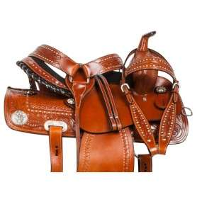 Crystal Leather Western Barrel Horse Saddle Tack Set 14