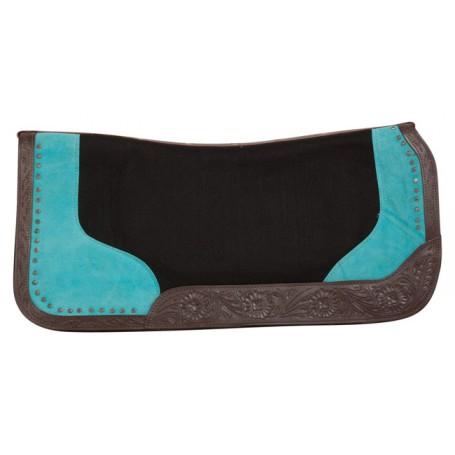 Turquoise Black Felt Show Leather Western Horse Saddle Pad
