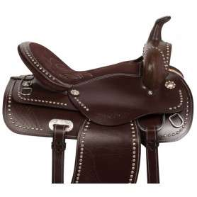 Brown Silver Studded Western Show Trail Horse Saddle 15