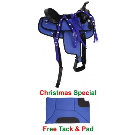 New 15 Blue Pleasure/ Trail Western Horse Saddle /W Tack & Pad