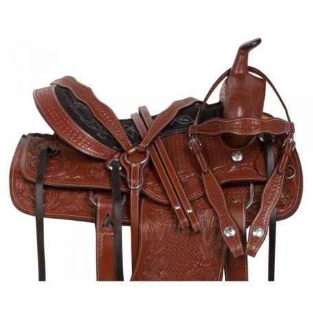 Brown Tooled Comfy Western Pleasure Horse Saddle Tack 16