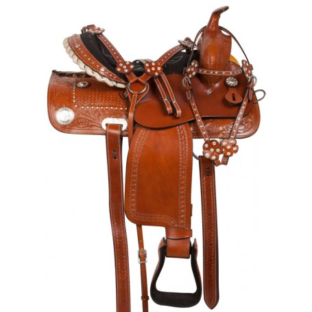 Crystal Western Trail Barrel Racing Horse Saddle Tack 15