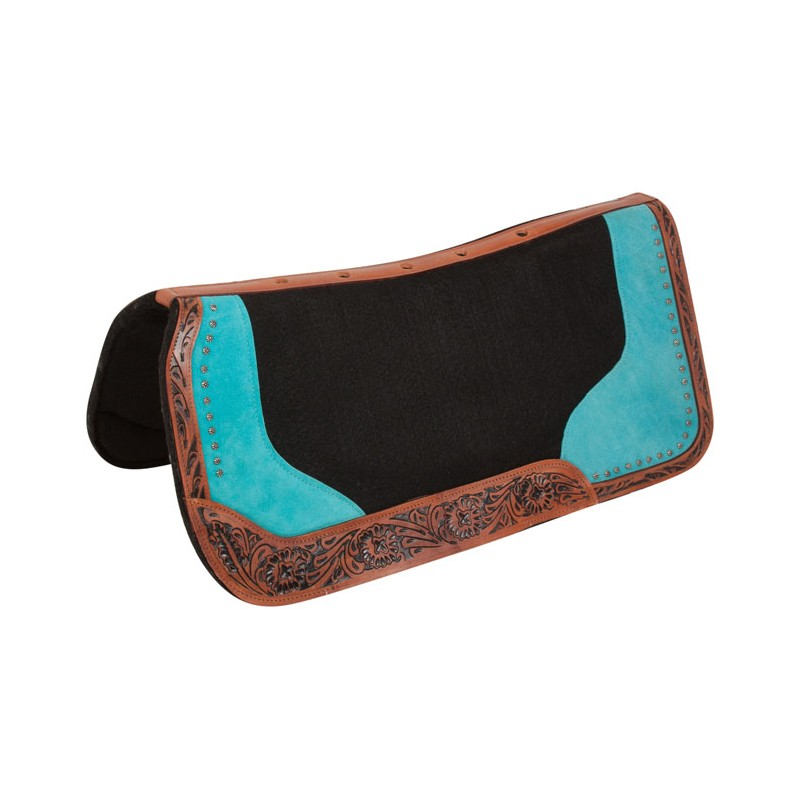 Western saddle pad in wool for treeless saddle turquoise