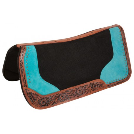 Turquoise Bling Orthopedic Wool Felt Western Horse Saddle Pad