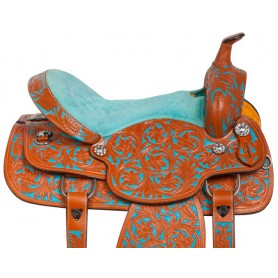 Turquoise Barrel Racing Western Trail Horse Saddle 14
