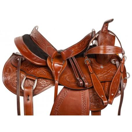Tooled Western Leather Trail Endurance Horse Saddle 15 18