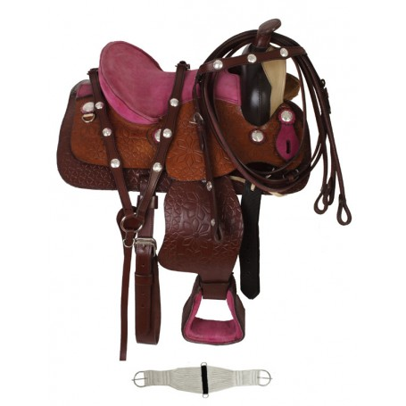 New  Flower Embossed Pink Pony Youth Saddle