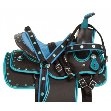 Blue Teal Western Pony Kids Synthetic Saddle Tack 10 12