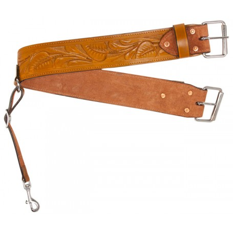 New Tooled Western Leather Rear Flank Saddle Back Cinch
