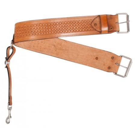 Chestnut Tooled Basket Weave Western Leather Back Cinch