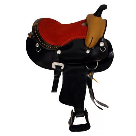 New 11 Black Buckstitch Trail Pony Kids Child Saddle Red Seat