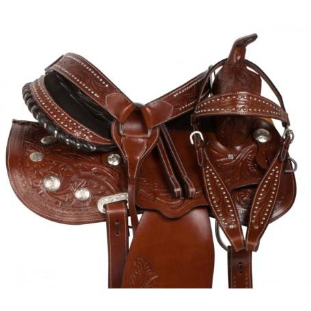 Hand Tooled Gaited Western Leather Horse Saddle 15