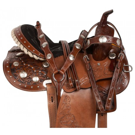 Crystal Arabian Western Leather Barrel Horse Saddle 14