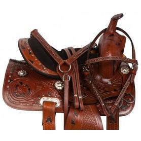 Black Inlay Western Show Barrel Pony Saddle Tack 10 12 13