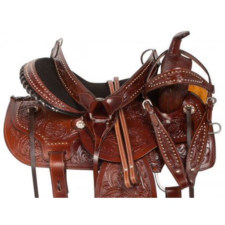 Dark Brown Tooled Western Barrel Trail Horse Saddle 16
