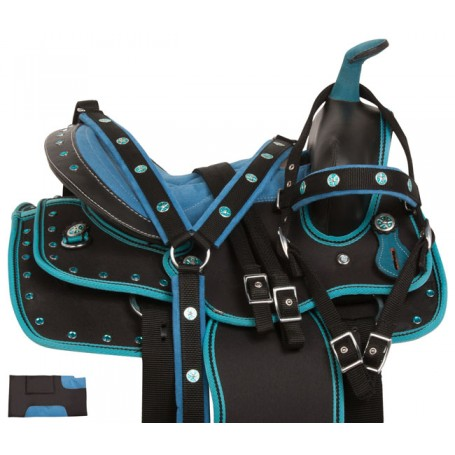 Blue Western Synthetic Kids Seat Pony Saddle Tack 10 12