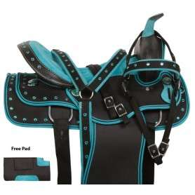 Turquoise Crystal Show Synthetic Western Saddle Set 15 17
