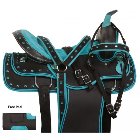 Turquoise Crystal Show Synthetic Western Saddle Set 15