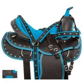 Blue Synthetic Light Weight Western Horse Saddle 15 17