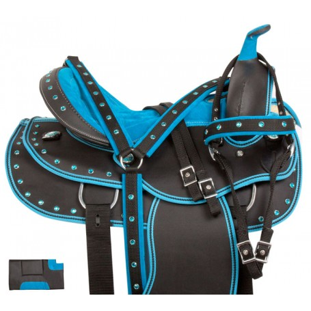 Blue Synthetic Light Weight Western Horse Saddle 15