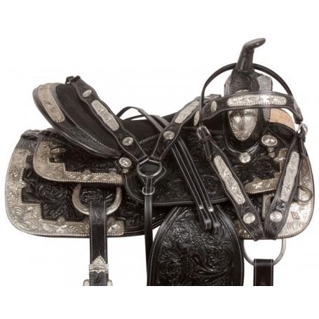 Silver Show Black Tooled Western Leather Horse Saddle 17